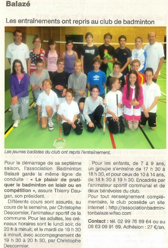 Article Ouest-France-Badminton-Balaze- le 29-09-2012